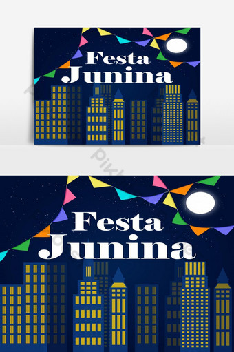 Festa Junina Illustration with Night City png and vector PNG Images Template EPS