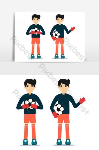 Vecteur de conception de personnage de gardien de but de football Éléments graphiques Modèle EPS