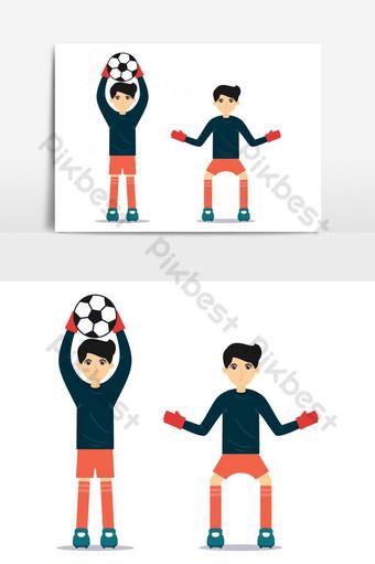 Conception de personnage de joueur de gardien de but de football Éléments graphiques Modèle AI