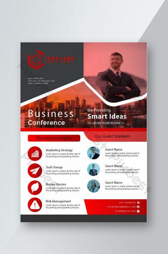 Templat tata letak desain brosur konferensi bisnis dalam ukuran a4 dengan latar belakang yang bagus Templat EPS