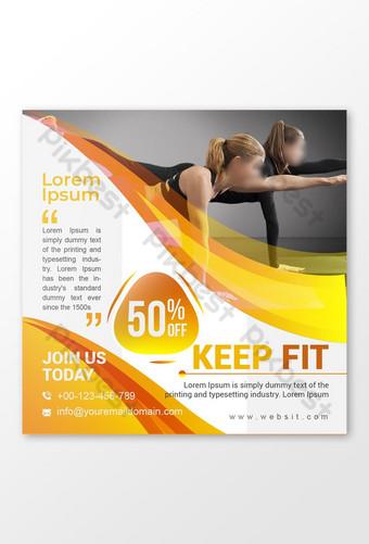 publicación promocional en redes sociales del gimnasio del cuerpo de la mujer Modelo EPS
