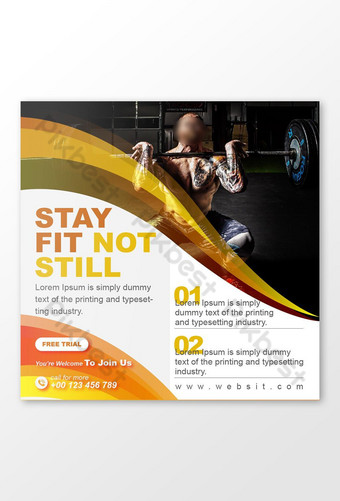 diseño de publicación de redes sociales folleto de gimnasio de fitness corporal Modelo EPS
