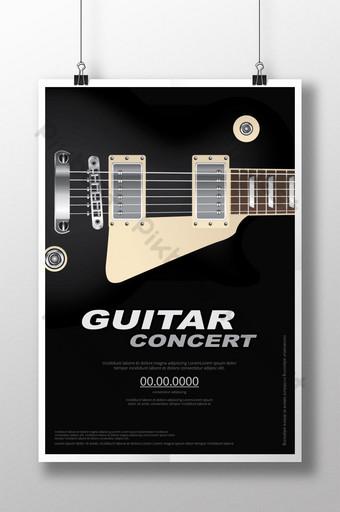 Ilustración de vector de plantilla de fondo de cartel de concierto de guitarra Modelo AI