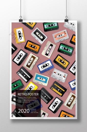Ilustración de vector de plantilla de diseño de cartel de cinta de cassette retro vintage Modelo AI