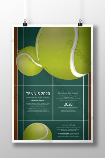 Ilustración de vector de cartel de campeonato de tenis Modelo AI