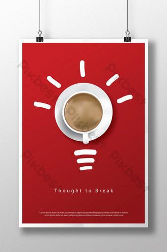 Coffeeeeeee cartel anuncio flayers ilustración vectorial Modelo AI
