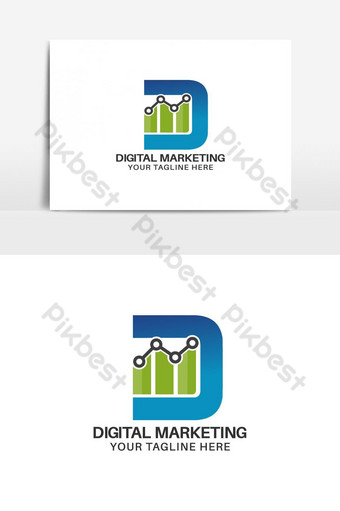diseño de logo de marketing digital Elementos graficos Modelo AI