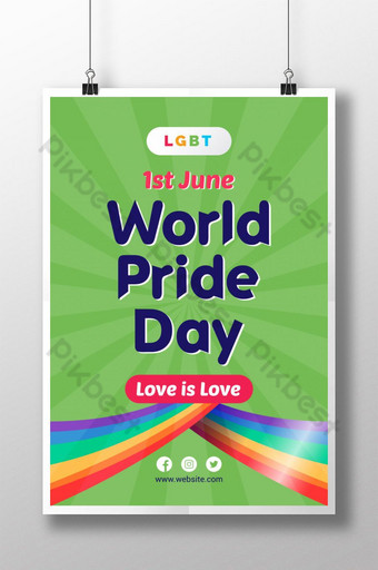 فخر يوم مثلي الجنس ملصق تصميم القالب قالب AI