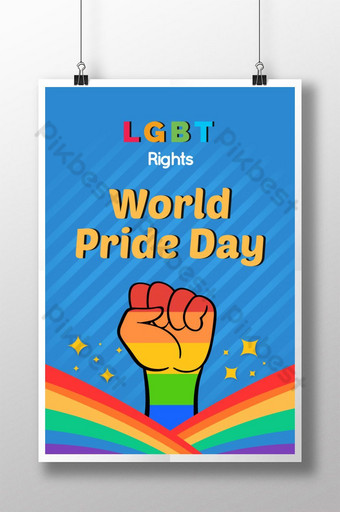يوم فخر العالم المثليين تصميم قالب ملصق قالب AI