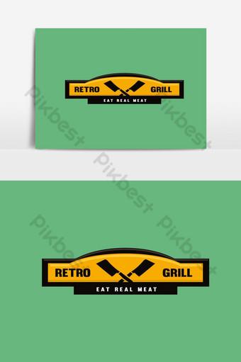 復古燒烤標誌設計模板 元素 模板 PSD