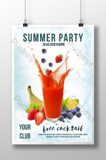 poster quảng cáo đồ uống trà trái cây tươi ngon màu nước mùa hè Bản mẫu PSD