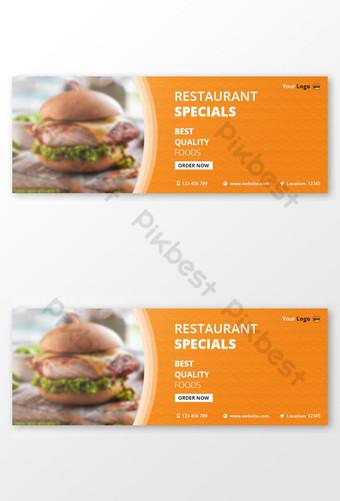diseño de plantilla de portada de facebook de comida de restaurante psd Modelo PSD