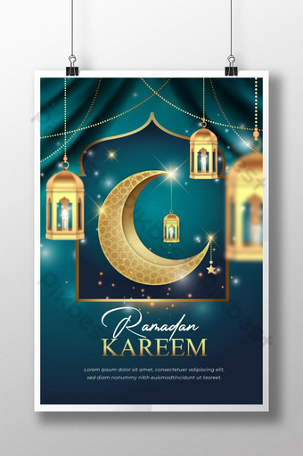ramadan kareem con diseño de cartel de media luna adornado dorado Modelo AI