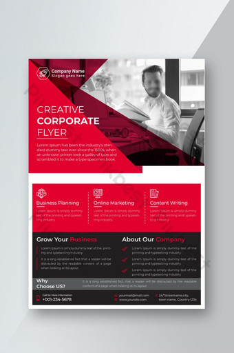 folleto corporativo moderno diseño de plantilla diseño de folleto rojo a4 Modelo AI