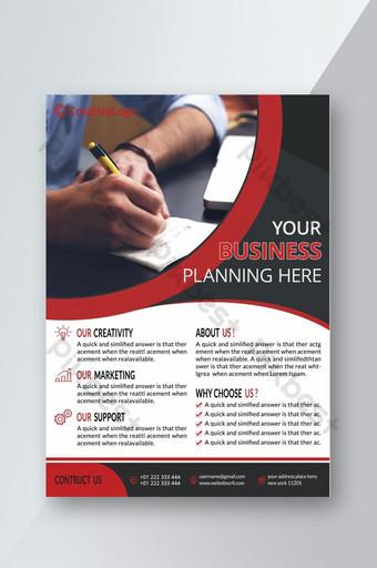 Conception graphique d'impression de modèle de flyer photoshop entreprise rouge et noir Modèle PSD