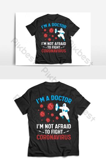 Dokter melawan template desain kaos dan poster vektor virus corona Elemen Grafis Templat AI