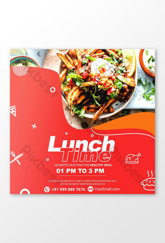 Red theme Lunch time psd Banner Template PSD