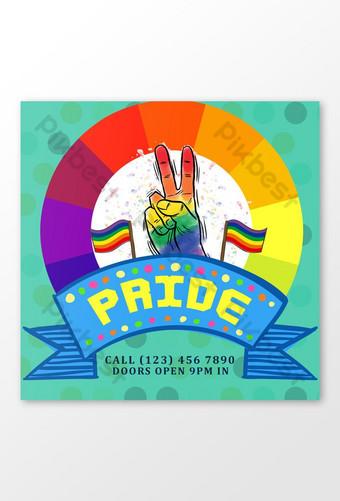 يوم فخر لمنشورات وسائل التواصل الاجتماعي المثليين قالب PSD
