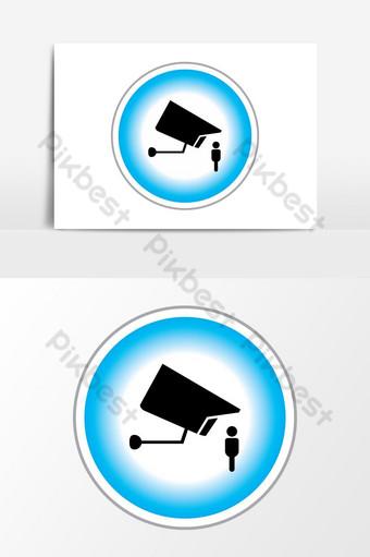 gráficos vectoriales de icono de cámara de seguridad Elementos graficos Modelo EPS