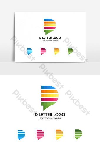 huruf d logo d logo abstrak berwarna-warni logo d huruf awal desain logo vektor Elemen Grafis Templat AI