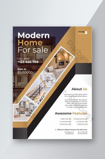 Creative vecteur de brochure flyer entreprise immobilier coloré simple taille moderne A4 Modèle AI