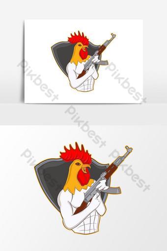 Logo de mascotte de dîner de poulet gagnant Éléments graphiques Modèle AI