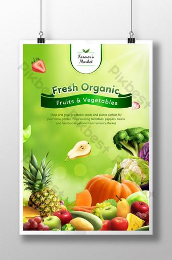 الفواكه والخضروات العضوية الطازجة في سوق المزارعين قالب PSD