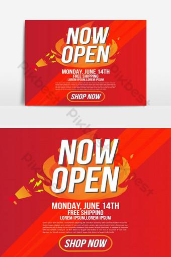 ahora tienda abierta o nueva tienda letrero de fuego de color rojo y naranja sobre fondo negro plantilla Elementos graficos Modelo AI