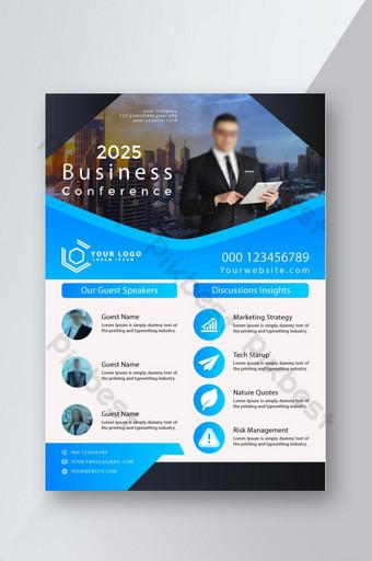 Modèle de mise en page de conception de dépliant de brochure de conférence d'affaires au format A4 avec joli fond Modèle EPS