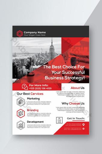 Modèle de Flyer d'entreprise rouge moderne et élégant créatif Modèle AI