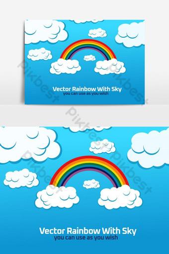 vector arcoiris con cielo elemento gráfico vectorial Elementos graficos Modelo AI