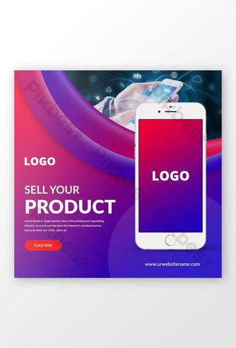 Modèle de bannière de médias sociaux de promotion d'applications mobiles Psd Modèle PSD