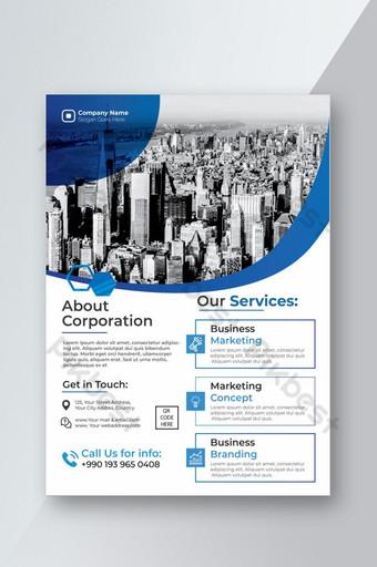 Modèle de Flyer d'entreprise bleu créatif élégant et moderne Modèle AI