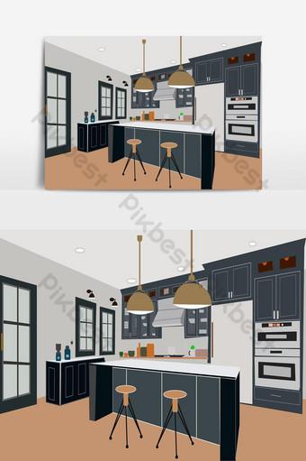 современная мебель изометрический интерьер кухонное оборудование плоская иллюстрация Графические элементы шаблон AI