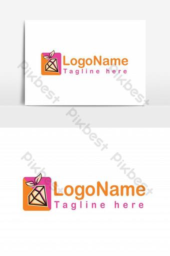 Elementos gráficos de plantilla de diseño de logotipo de diamante amarillo y rosa Elementos graficos Modelo EPS