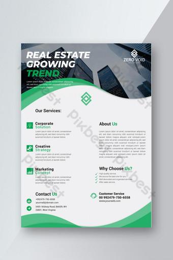 Dépliant de tendance de croissance de l'immobilier élégant en vert Modèle AI
