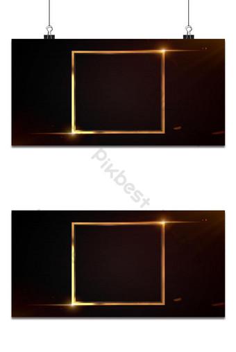 Brillo de metal dorado y marco cuadrado brillante sobre fondo negro Fondos Modelo PSD