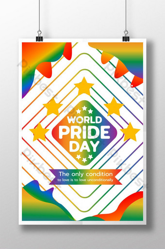 World Pride day colorful poster. Template PSD