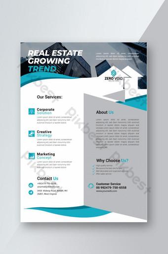 Dépliant d'entreprise immobilière en bleu Modèle AI