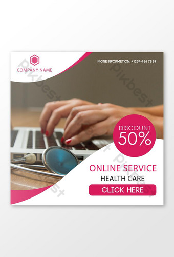 Online Health Care Service Social Media Design Template PSD