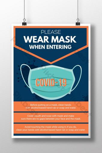 戴口罩冠狀病毒covid19意識注意海報 模板 AI