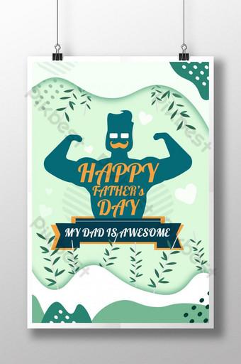 Mon père est génial carte de voeux pour le jour du père heureux Modèle PSD