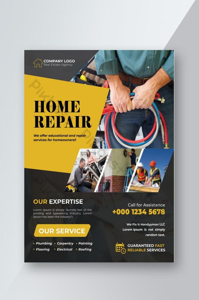 Yellow Corporate Home Repair Business Flyer Design Template Eps Free Download Pikbest