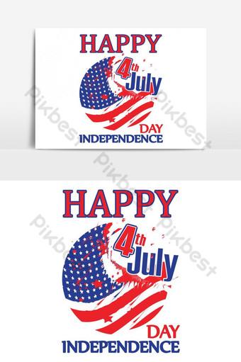 4 de julio elementos gráficos del día de la independencia para el diseño de camisetas Elementos graficos Modelo AI