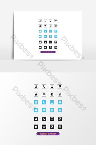 conjunto de iconos de tarjeta de visita conjunto de iconos de información de contacto conjunto de iconos de información de contacto de tarjeta de visita Elementos graficos Modelo EPS