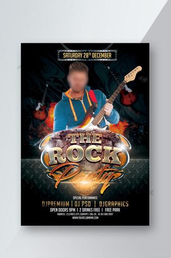Le dépliant de l'événement Rock Party Music Modèle PSD