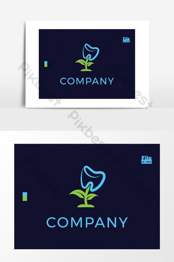 Logo de clinique de fines herbes de plantes ayurvédiques de dents dentaires Éléments graphiques Modèle EPS