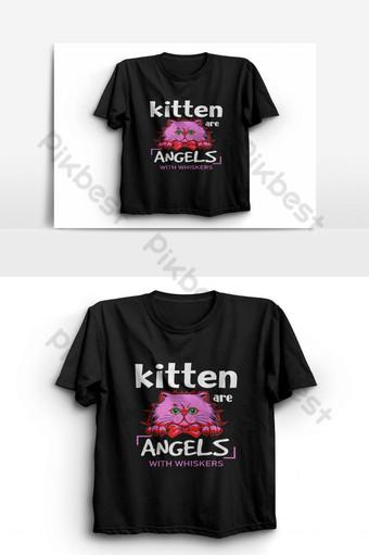 anak kucing adalah malaikat dengan kumis kucing t shirt vektor pecinta kucing kaos template kemeja lucu Elemen Grafis Templat AI
