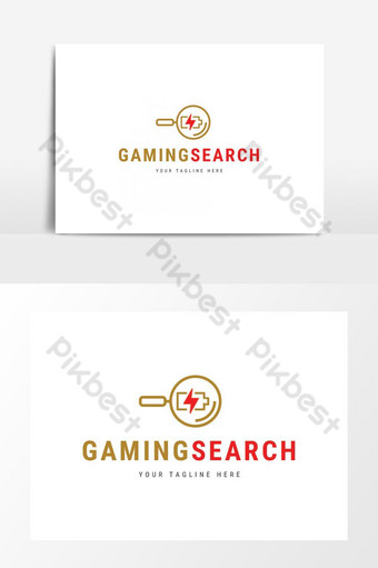 professional clean gaming search logo design PNG Images Template PSD