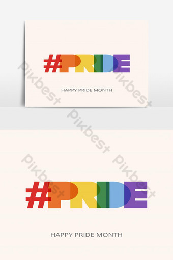 LGBT Pride Month illustration with typography text in rainbow color. Poster, card, banner PNG Images Template EPS